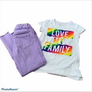 Other - Love My Family rainbow Shirt & lavender Jeans